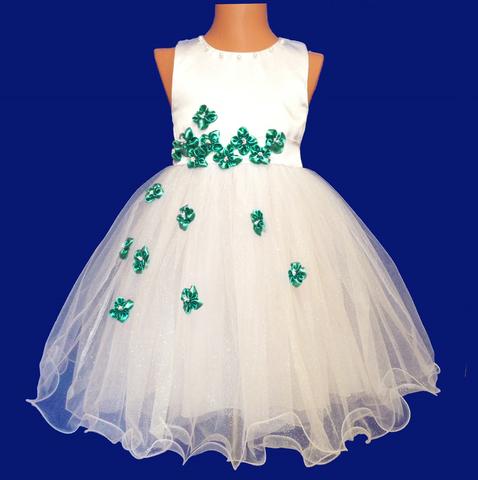 Платье для малышек с зелеными цветами