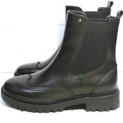 Модные ботинки женские Jina 7113 Leather Black
