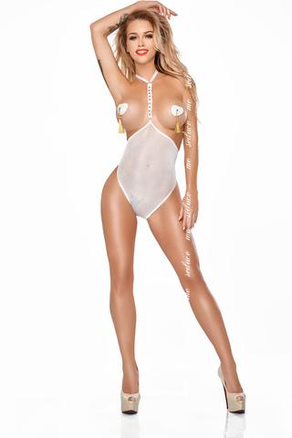 Прозрачное боди с открытой грудью белое