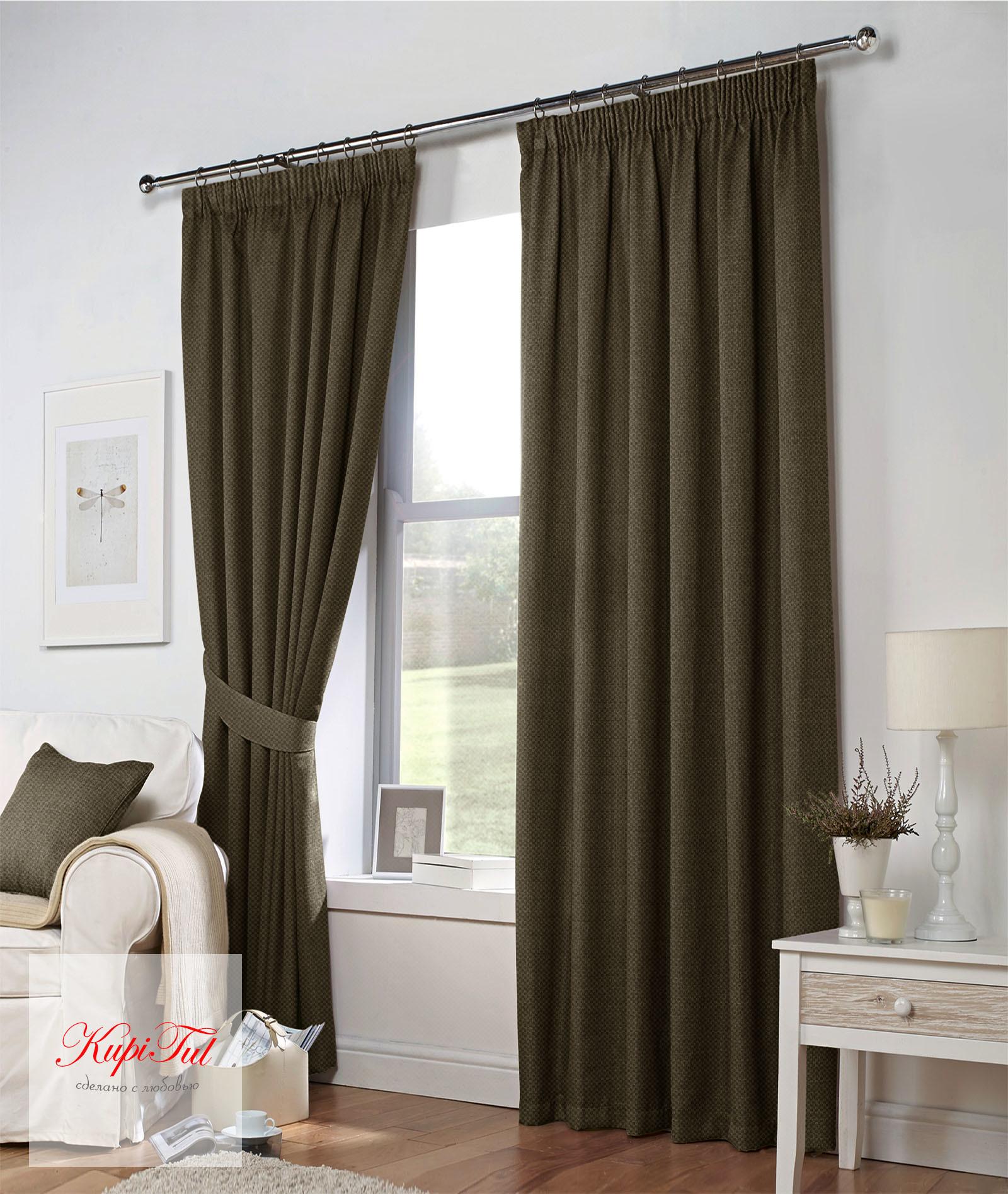 Тоскана (коричневый). Плотные шторы рогожка.