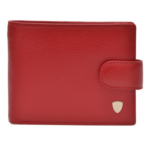 Стильный красный женский кошелёк с 3 отделениями для купюр (одно из них на молнии) карман для мелочи на кнопке 4 кармашка для пластиковых карт 2 потайных кармана 2 отделения для пропуска M100-DC13-02H   в подарочной коробке