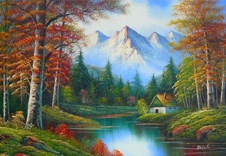 Картина раскраска по номерам 50x65 Домик у реки и гор ...