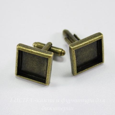 Основа для запонок с квадратным сеттингом для кабошона 14х14 мм (цвет - античная бронза) 20х18 мм , ПАРА