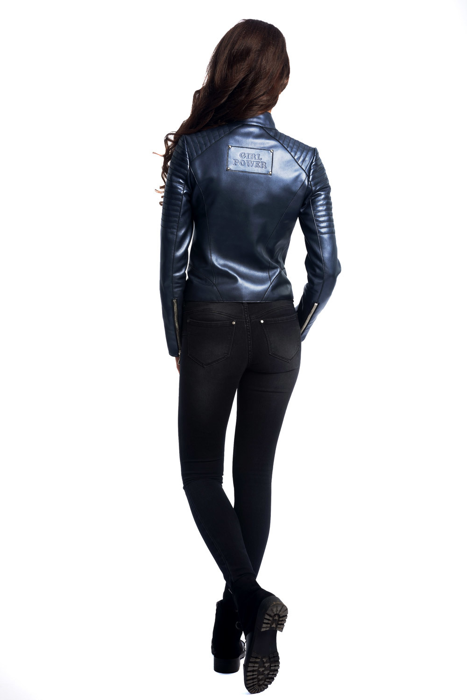 Куртка кожаная темно-синяя