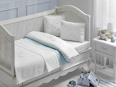 НАБОР ЯСЛИ Детское  постельное белье с пледом STORK BEBE голубой deluxe TIVOLYO HOME Турция