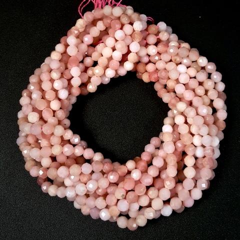 Бусины розовый опал А граненый 3,4 мм нить 19 см