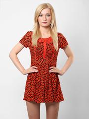 Q207-4 платье оранжевое