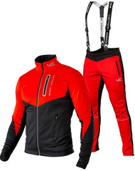 Утеплённый лыжный костюм 905 Victory Code Go Fast 2019 Red с лямками мужской