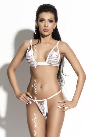 Эротический женский комплект белый из бахромы