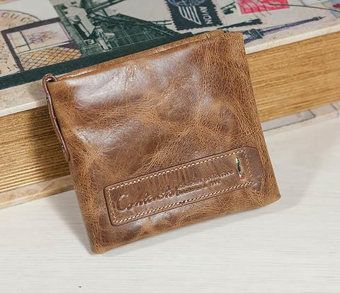 Винтажный мужской кошелек из натуральной кожи на застежке