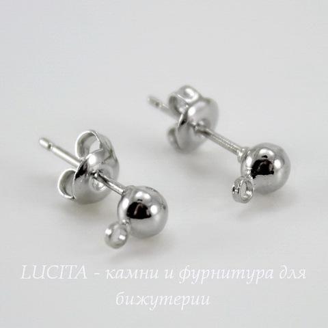 Пуссеты - гвоздики с шариком 4 мм (цвет - античное серебро)(с заглушками)