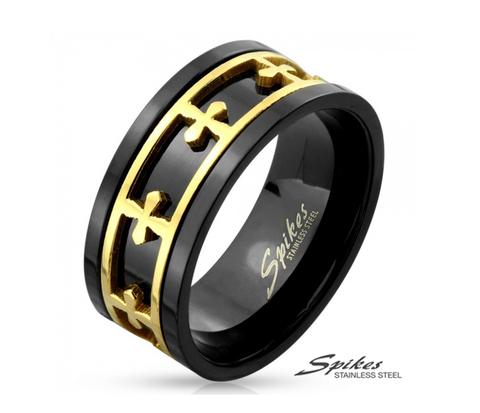 R-M4296 Мужское черное кольцо со вставкой золотого цвета (вращается).