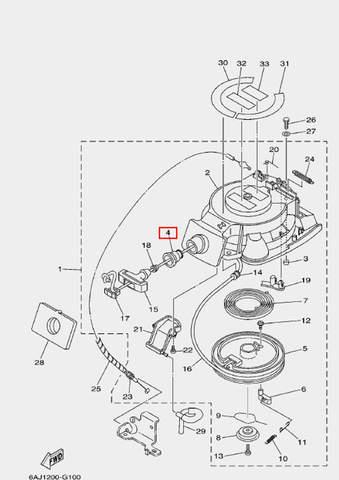 Втулка ручки стартера для лодочного мотора F20 Sea-PRO (10-4)