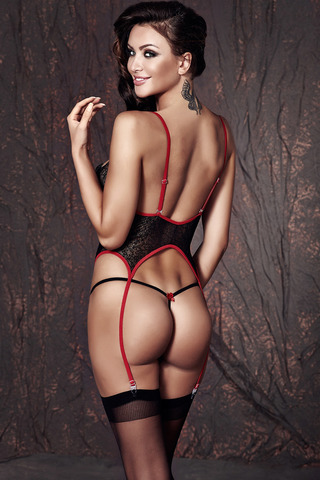 Короткий черный прозрачный эротический сексуальный кружевной корсет с подвязками со шнуровкой вид сзади