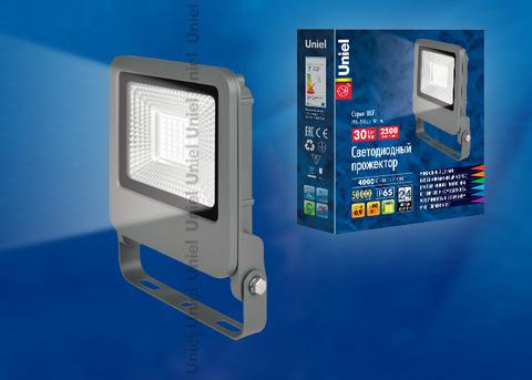 ULF-F17-30W/NW IP65 195-240В SILVER Прожектор светодиодный. Белый свет (4000K). Корпус серебристый. TM Uniel.