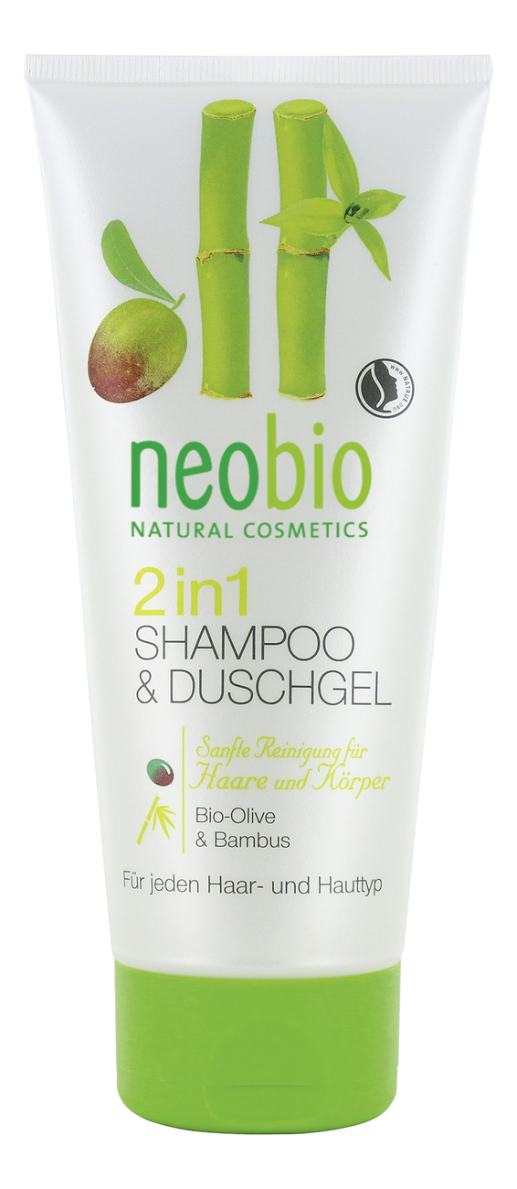 2 in 1 Shower Gel & Shampoo /шампунь-гель 2 в 1 c био-оливой и бамбуком 200 мл ( Neobio)