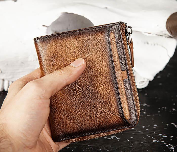 WL331-2 Мужское портмоне из натуральной коричневой кожи фото 10