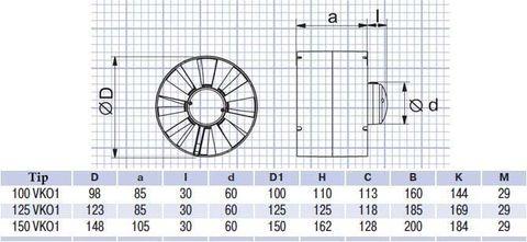 Канальный вентилятор Vents 150 ВКО