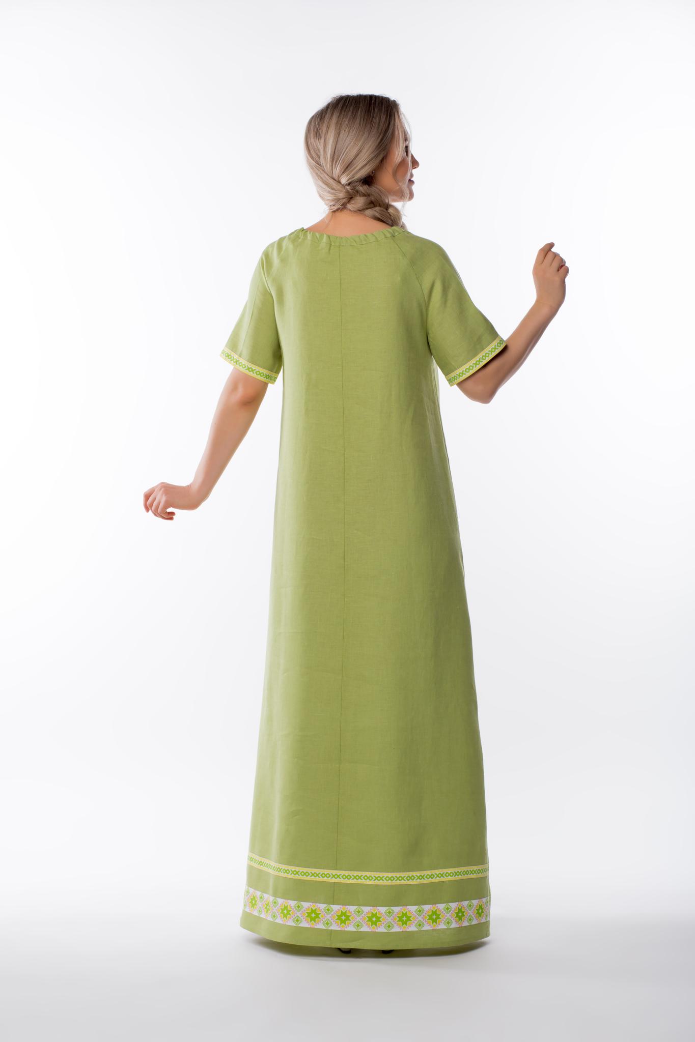 Платье льняное Папоротник без пояса вид сзади