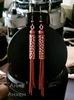 Бусина металлическая трубочка с узором 25х6 мм (цвет - античная медь) (пример. Серьги с цепочкой)