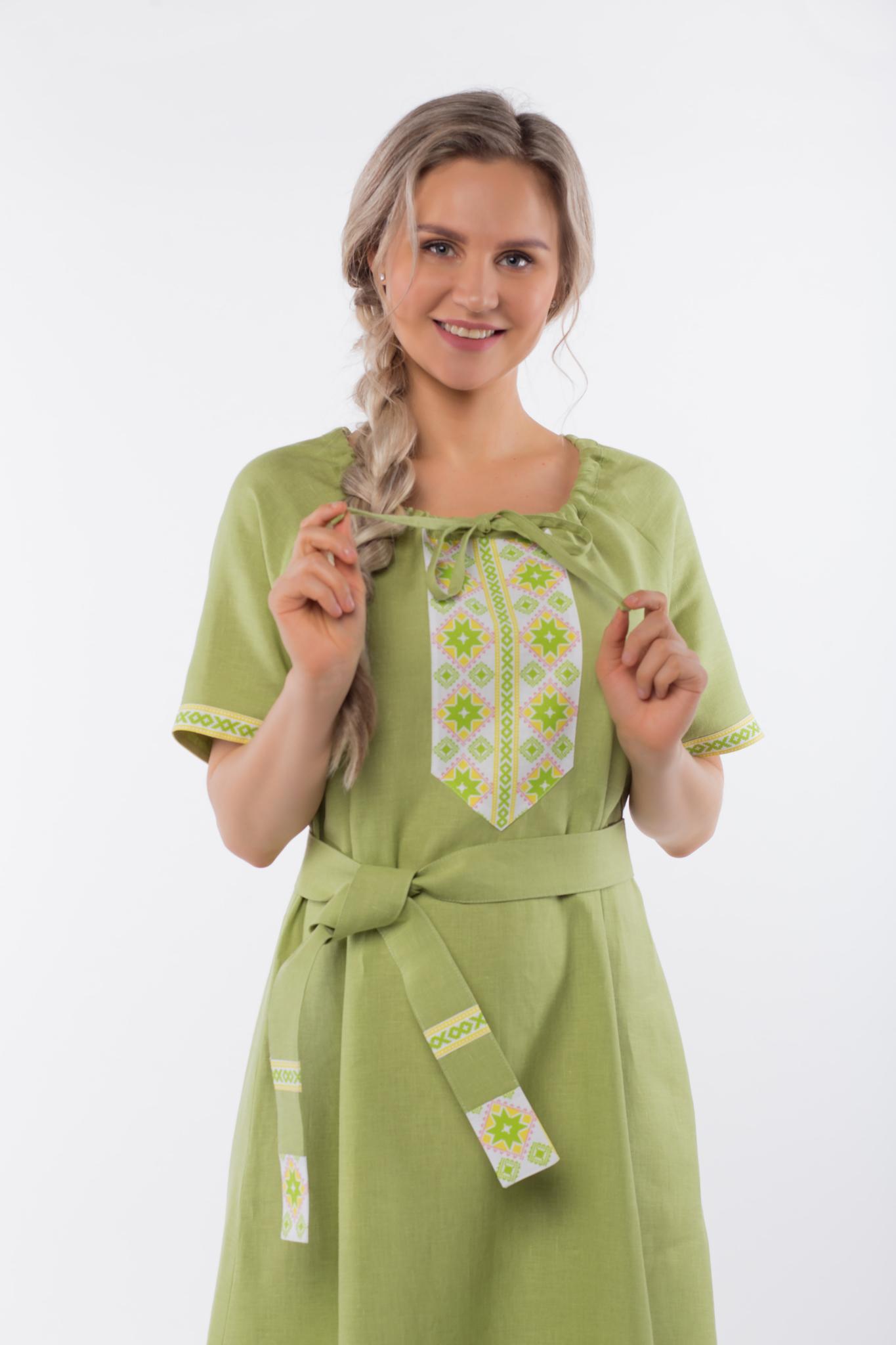 Платье льняное Папоротник приближенный фрагмент