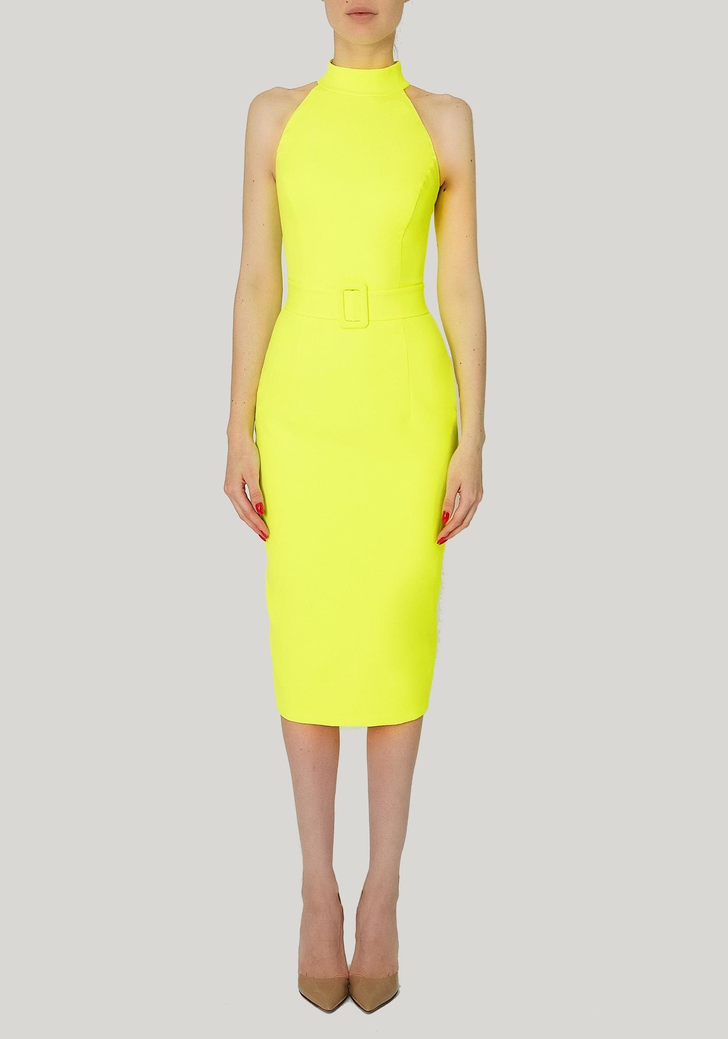 Платье неоново-желтое футляр