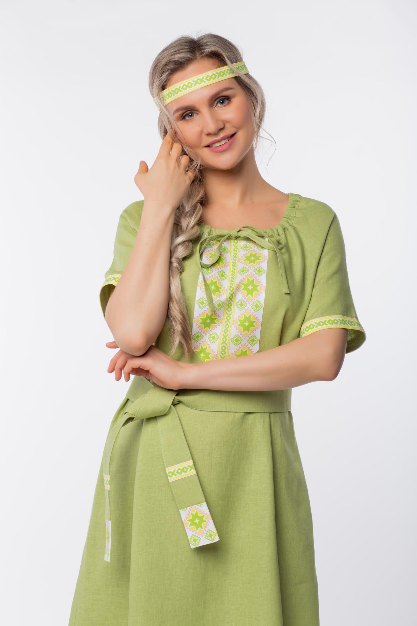 Платье льняное Папоротник с очельем