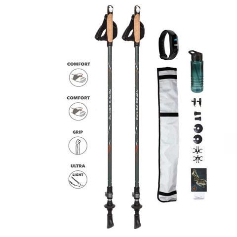 Набор для скандинавской ходьбы NW Fitness с фитнес браслетом (пульсометром)
