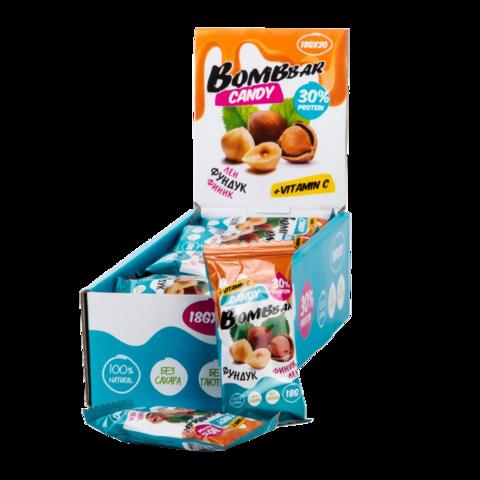 Протеиновые конфеты Bombbar лён-фундук-финик, 18 гр