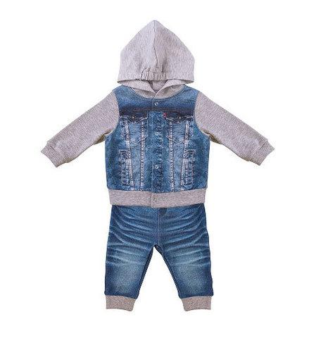 Папитто. Комплект кофточка с капюшоном и штанишки для мальчика FASHION JEANS