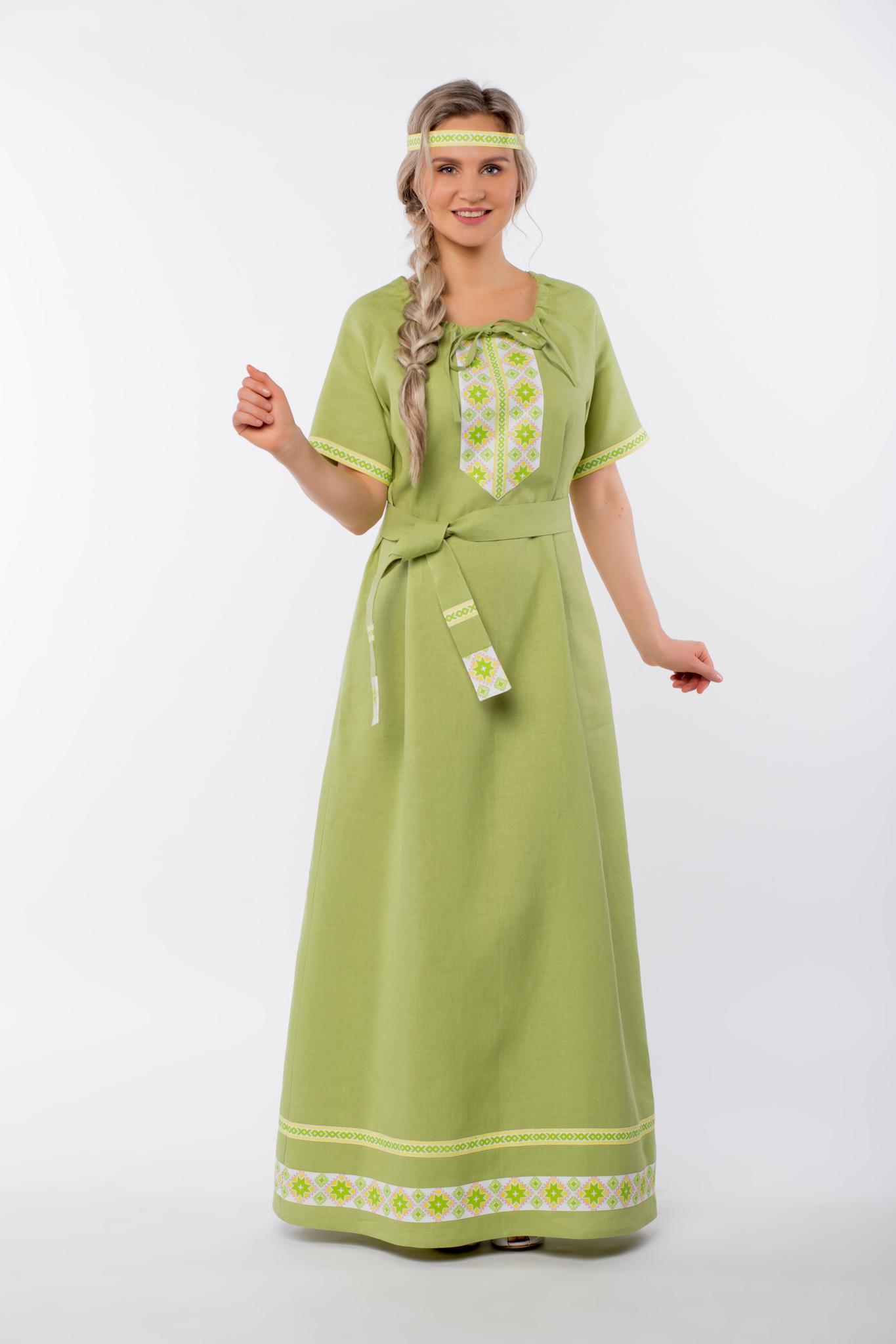 Платье льняное Папоротник с поясом
