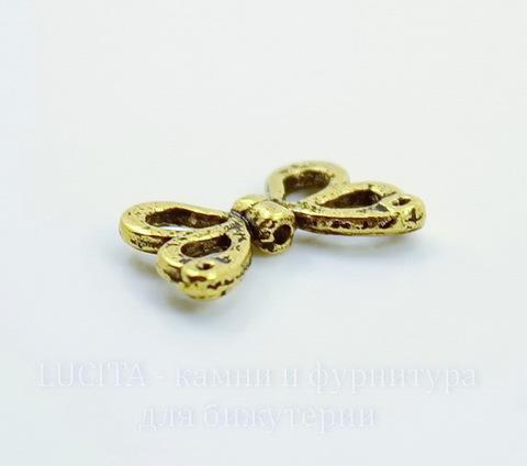 """Бусина металлическая """"Крылья бабочки"""" 15х10 мм (цвет - античное золото)"""