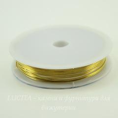 Проволока медная 0,8 мм, цвет - золото, примерно 5 метров