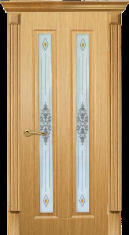 Дверь AIRON Екатерина-2, стекло с рисунком и фьюзингом, цвет светлый дуб, остекленная