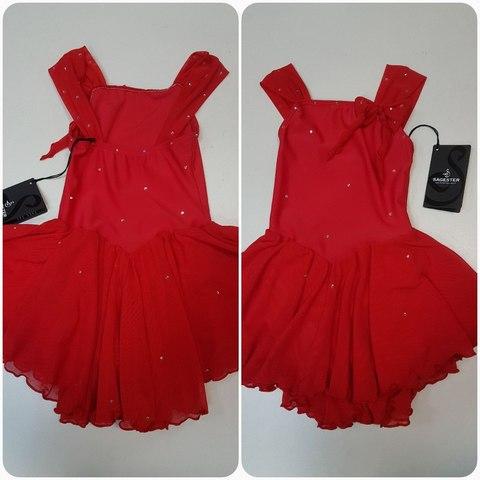 Платье для выступлений SAGESTER, рост 90-110 см (красный), со стразами