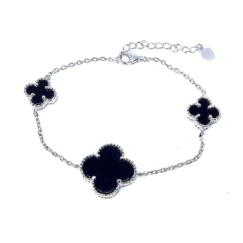 Браслет Trendy из серебра 3 мотива (черные вставки)