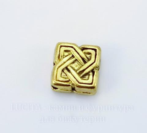 """Бусина металлическая - ромб """"Узел"""" 10х9 мм (цвет - античное золото), 10 штук"""