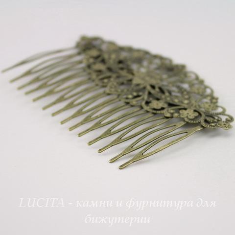 Гребень, основа для заколки с филигранью, 81х52 мм (цвет - античная бронза) (1 сорт бок)