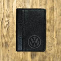 """Обложка на автодокументы сложная """"Volkswagen"""", черная"""
