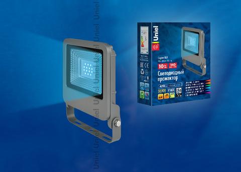 ULF-F17-10W/BLUE IP65 195-240В SILVER Прожектор светодиодный. Синий свет. Корпус серебристый. TM Uniel.