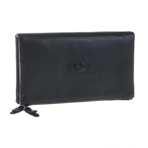 Стильный чёрный мужской кошелёк клатч из натуральной кожи на кнопках GALIB 4M221