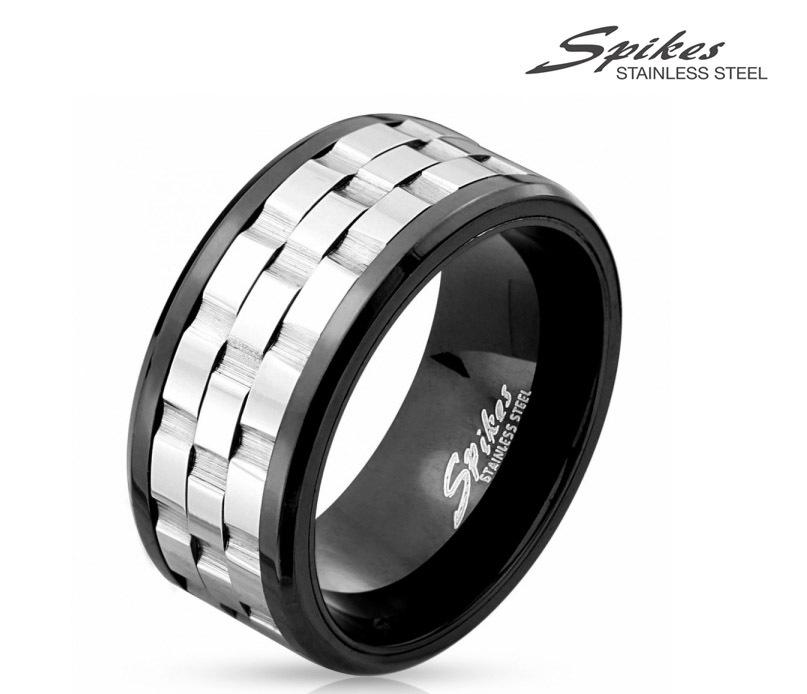 R-M4537 Мужское стальное кольцо с вращающейся вставкой. «Spikes»