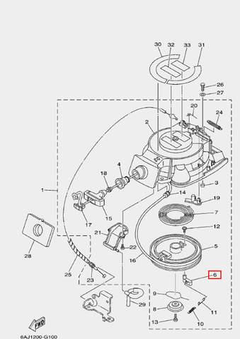 Стопор-упор стартера для лодочного мотора F20 Sea-PRO (10-6)