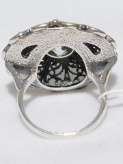 Цветок (кольцо + серьги из серебра)