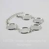 Основа для браслета с 5 сеттингами для кабошона 18 мм, 25 см (цвет - античное серебро)