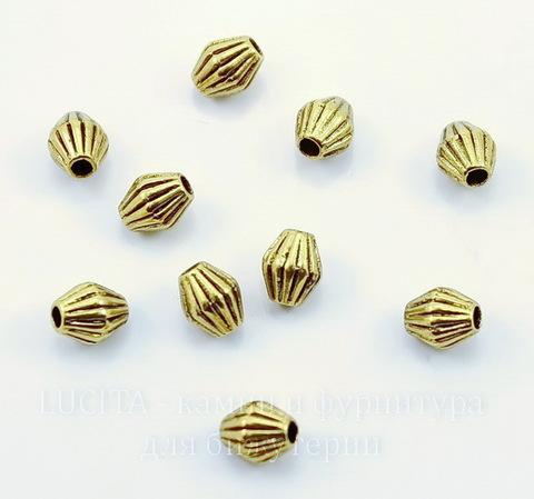 """Бусина металлическая - биконус """"Гофрированный"""" 6х5 мм (цвет - античное золото), 10 штук"""
