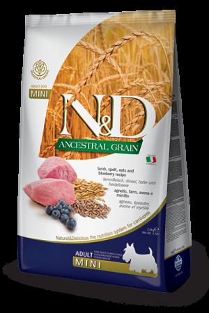 Farmina Корм для собак мелких пород, Farmina N&D Low Grain Lamb & Blueberry Adult Mini, с ягненком и черникой 119_33_119_18_ND-Low-Ancestral-Grain-canine-Adult-Mini-LAMB_web.png