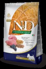 Корм для собак мелких пород, Farmina N&D Low Grain Lamb & Blueberry Adult Mini, с ягненком и черникой