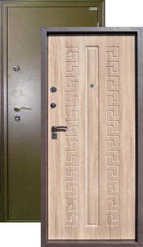 Дверь входная Печора стальная, вяз рифлёный, 2 замка, фабрика Город Мастеров