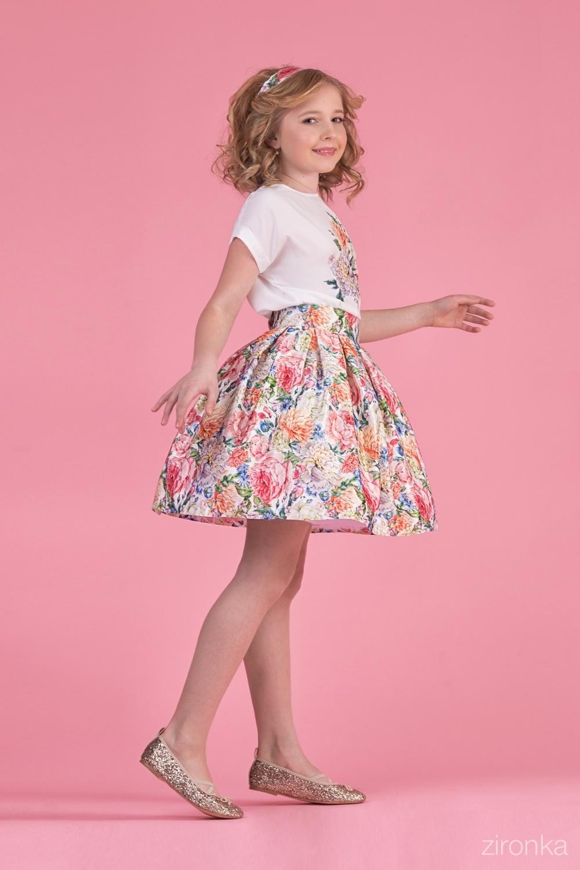 Комплект (блузка, юбка) для девочки 64-8007-4